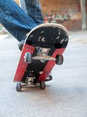 pic of skate board  - boy moves up on a skate board - JPG