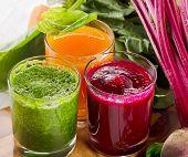 foto of juices  - Healthy vegetable smoothie and juice - JPG
