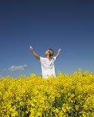 pic of rape  - Smiling Woman with Outstretched arms on a Rape Field - JPG