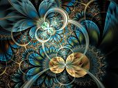foto of fractals  - Dark orange fractal flower digital artwork graphic - JPG