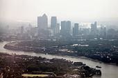 picture of canary  - Aerial cityscape of the River Thames and the skyscrapers of Canary Wharf - JPG