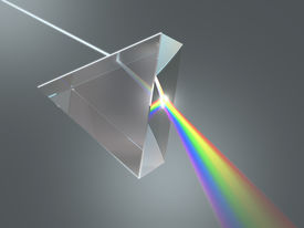 picture of prism  - The crystal prism disperses white light into many colors - JPG