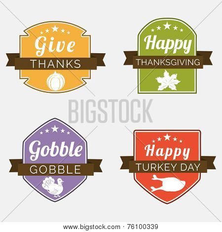 Set of colorful sticker, label or tag for Thanksgiving Day celebration on shiny grey background.
