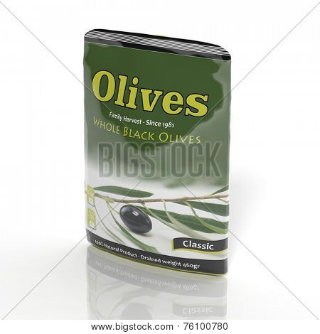 3D  Olives packet isolated on white