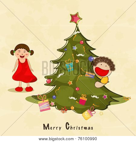 Cute little kids with gift box and star decorated X-mas tree for Merry Christmas celebration on beige background.
