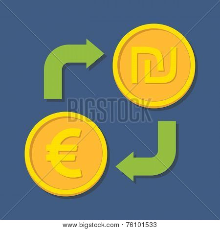 Currency Exchange. Euro And Shekel.