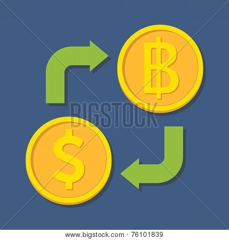 Currency Exchange. Dollar And Baht.