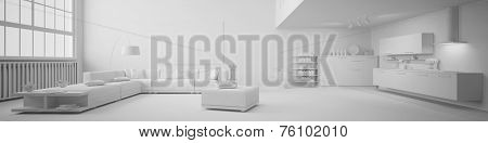 Panorama of a clean white loft with open kitchen and living room (3D Rendering)