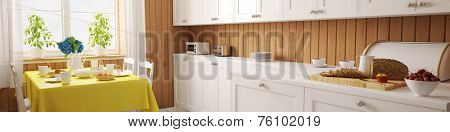 Panorama of a bright kitchen with wood panels and breakfast table (3D Rendering)