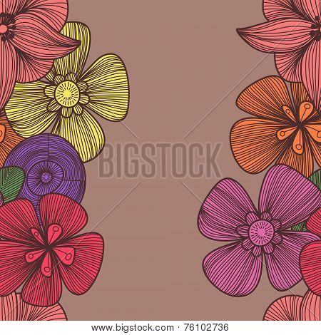 Cute Floral Seamless Pattern In Vintage Colors.bright Seamless Pattern Can Be Used For Wallpaper, Pa