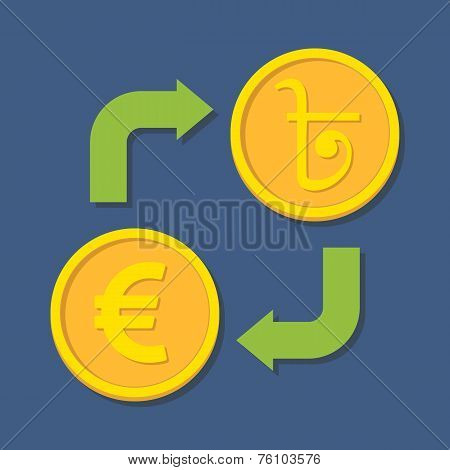 Currency Exchange. Euro And Bengali Rupee.