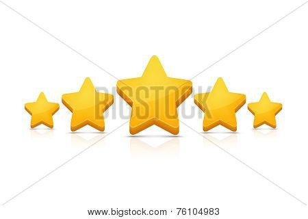Five stars on white. Vector illustration