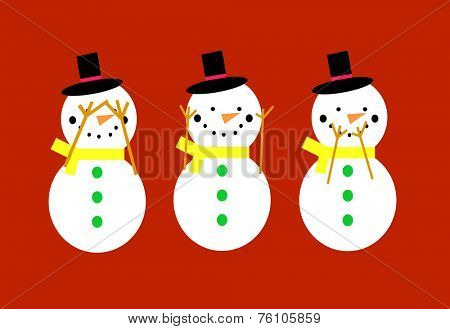 Snowmen on a red background doing see no evil, hear no evil, speak no evil poses.  EPS vector format.