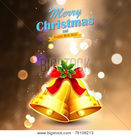 illustration of jingle bells tied with ribbon for Christmas and Happy New Year decoration