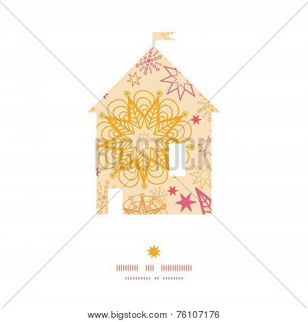 Vector warm stars house silhouette pattern frame