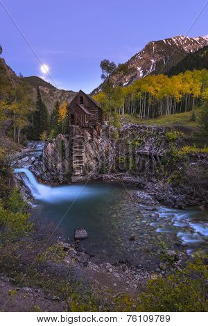 Moon Rise Crystal Mill Colorado Landscape