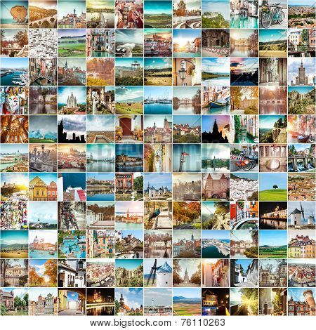 Collage of travel photos from different cities of the Europe
