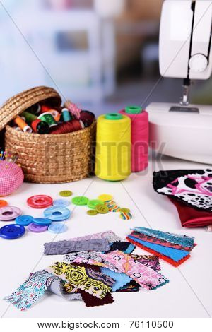 Fashion design, close-up. Sewing items