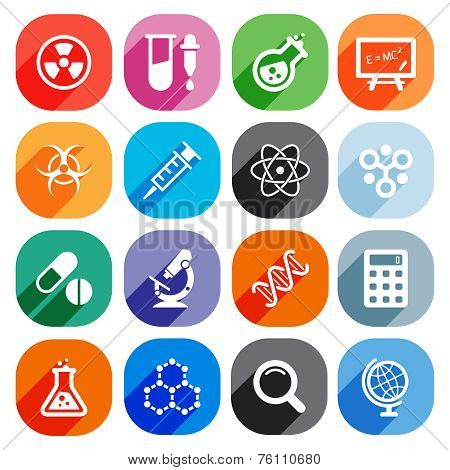 Trendy Flat science icons. Vector elements