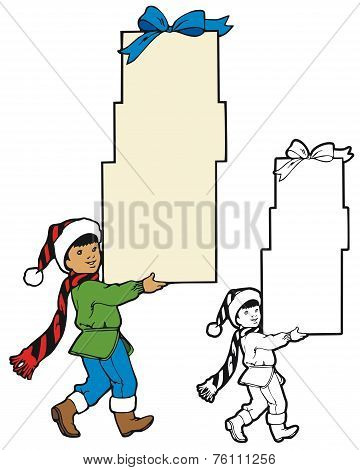 boy carrying gifts border