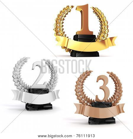 3d gold, silver and bronze trophy on white background