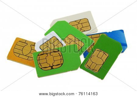 A group of old and used Subscriber Identity Module (SIM) cards