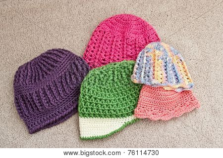 Collection of Crocheted Caps