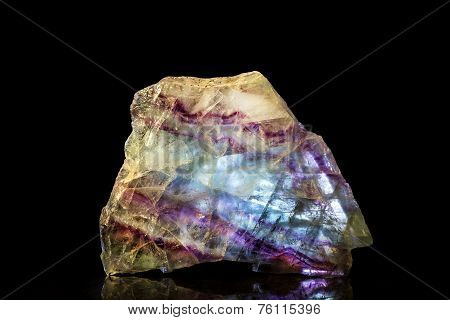 Fluorite Mineral Stone With Black Background