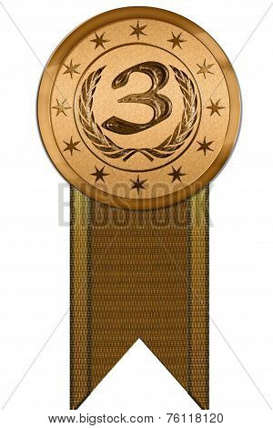 Photo Realistic Medal - Third Place With Ribbon