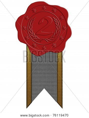 Second Place Red Wax Seal With Ribbon
