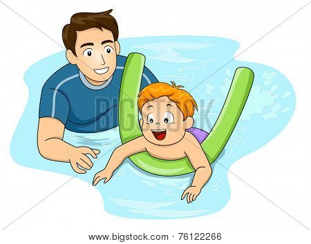 Illustration Featuring a Swimming Coach Giving Lessons to a Boy