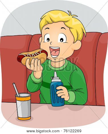 Illustration Featuring a Boy Eating a Hotdog Sandwich