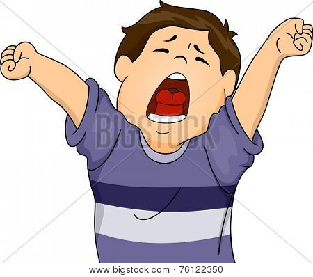 Illustration Featuring a Boy Letting Out a Big Yawn While Stretching