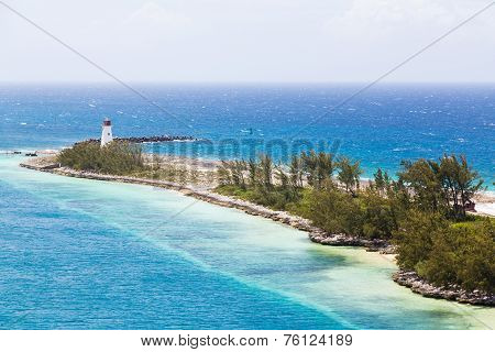 Nassau Lighthouse On Finger Of Land