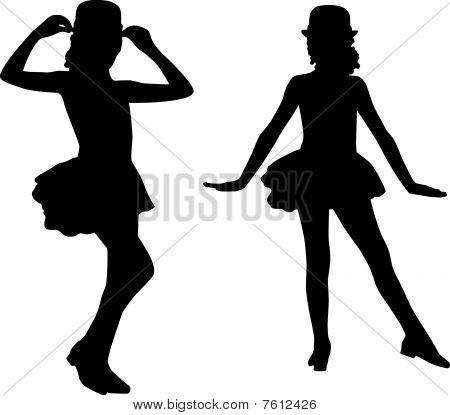 Silhouette happy children