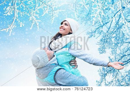Christmas background with couple in love