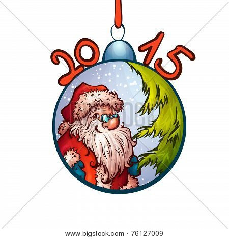 Vector illustration of fur-tree toy with funny Santa Claus
