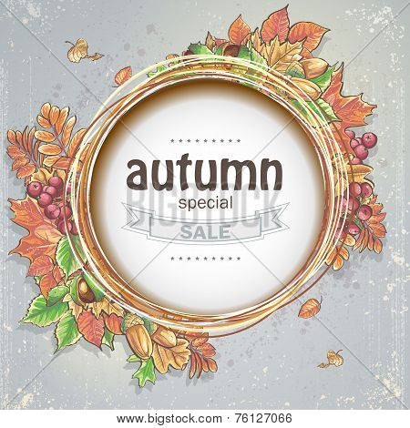 Background for big autumn sale with the image of autumn leaves acorns chestnuts and berries of Vibur