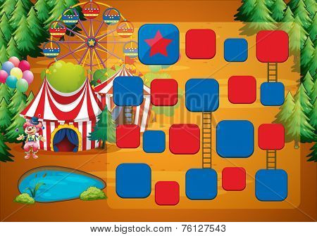 Circus theme board game with clown