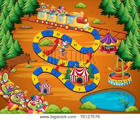 Circus themed board game with fun park