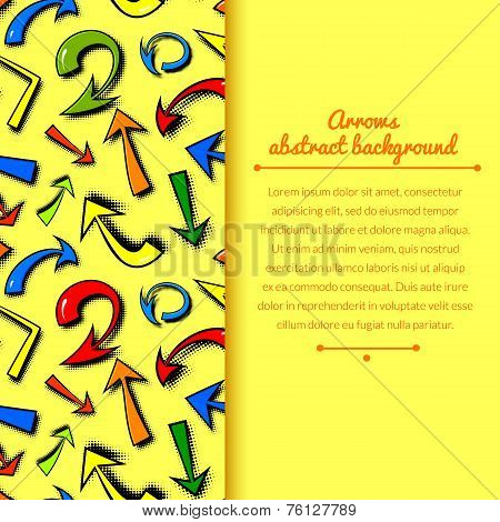 Vector background of hand drawn colorful comics arrows