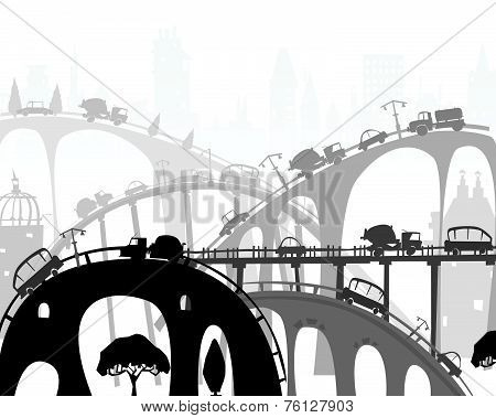 City roads and motorways with lots of traffic. Commuting time illustration
