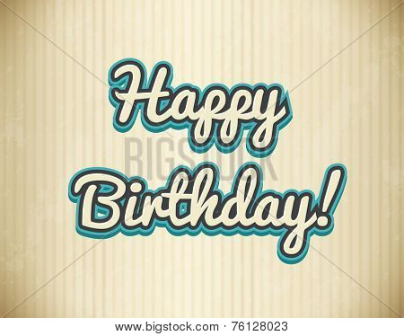 Happy birthday text on cardboard