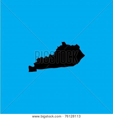 Coloured Background With The Shape Of The United States State Of Kentucky