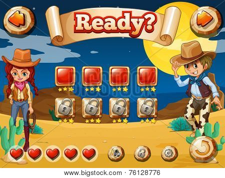 Wild west game theme with elements and icons