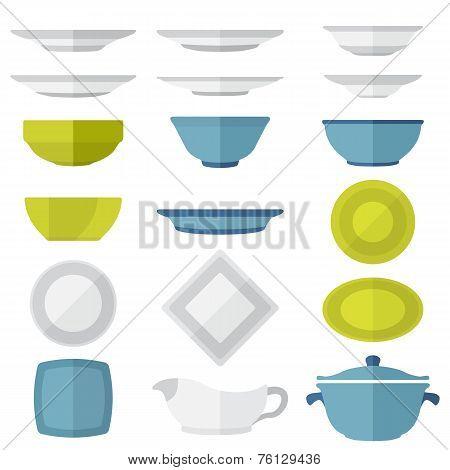flat design dinnerware set