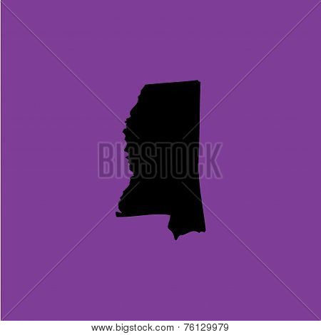 Coloured Background With The Shape Of The United States State Of Mississippi