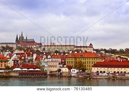 Prague cityscape with castle.