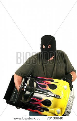 A Burglar with a black ski mask and black gloves isolated on white. Burglars like to break into other peoples houses and buildings to steal their money and valuables when they are not home. Bad Guy