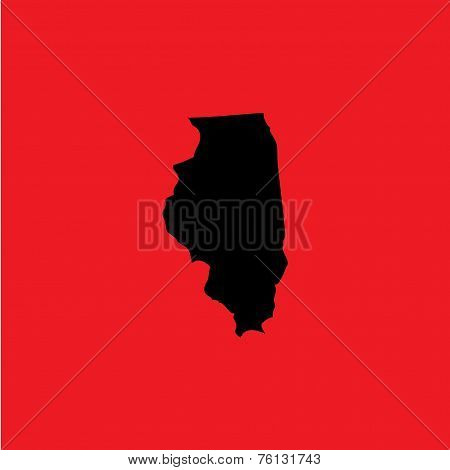 Coloured Background With The Shape Of The United States State Of Illinois